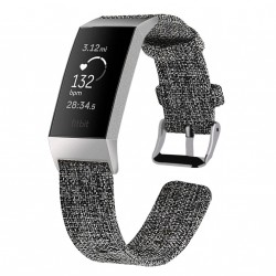 Fitbit Charge 3/4 Armband Canvas Dunkelgrau (S)